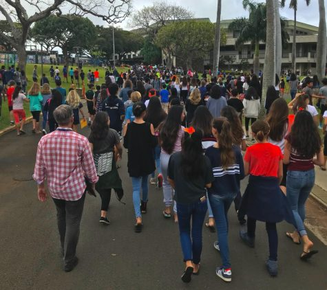 Image from walkout against gun violence at Punahou School in 2018. Photo Courtesy of Ezra Levinson