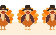 Thanksgiving Turkey wearing a face mask Seamless Vector Border. Turkeys wearing Coronavirus pattern design. Covid 19 virus autumn art for Holiday 2020 decoration, invitation, greeting cards, face mask