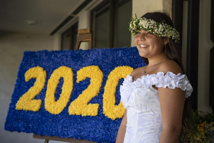 Nani Tomich '20 prepares to receive her diploma at Graduation, one of many events reimagined in 2020. Photo courtesy of Punahou School.