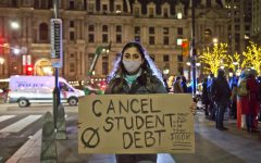 Protestors in Philadelphia demanding the Biden Administration to cancel student debt. Photo Courtesy of Kimberly Paynter/WHYY.